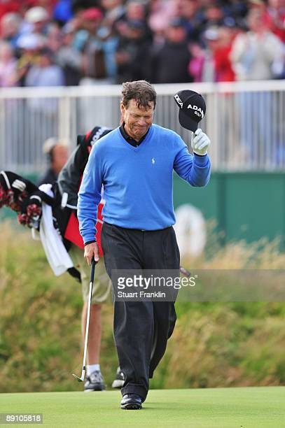 Tom Watson of USA walks across the 18th green after his defeat in a playoff with Stewart Cink following the final round of the 138th Open...