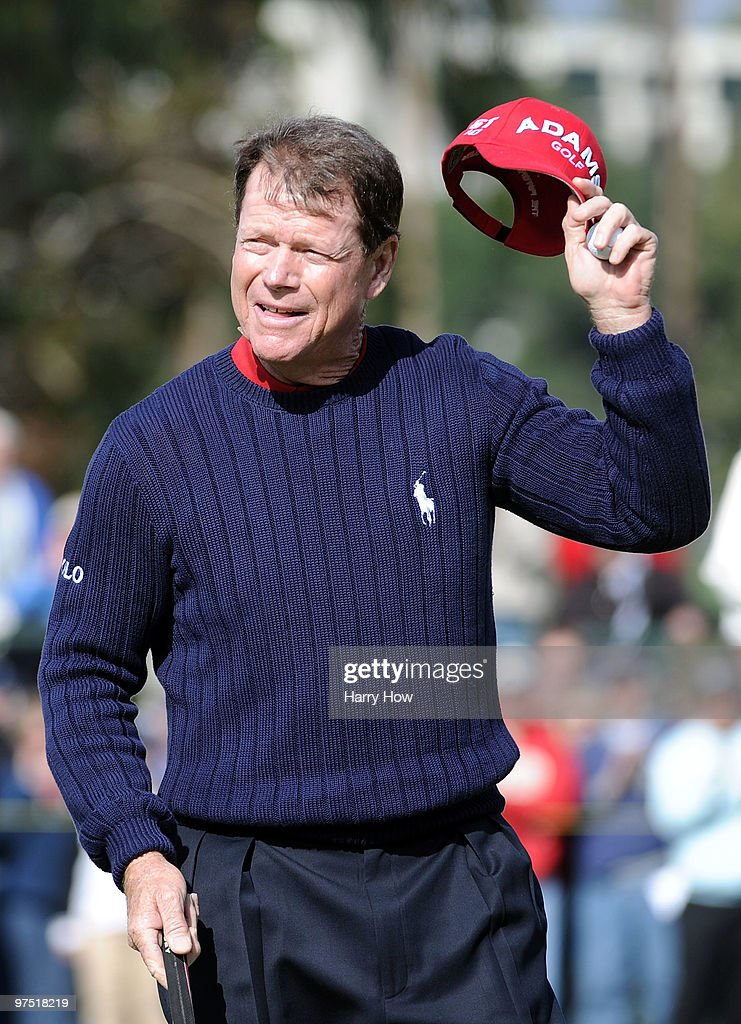 Tom Watson reacts to the end of his 9 under par round on the 18th hole during the third round of the Toshiba Classic at the Newport Beach Country Club on March 7, 2010 in Newport Beach, California.
