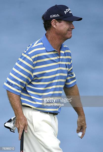 Tom Watson smiles after making a birdie on the 16h hole during the third round of the United States Senior Open at Whistling Straits July 7 2007 in...