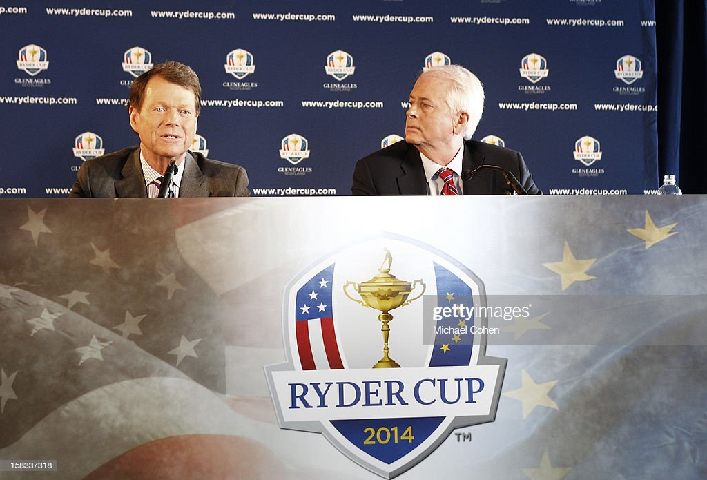 Tom Watson (L) speaks as Ted Bishop, President of the PGA of America looks on during the 2014 U.S. Ryder Cup Captain's News Conference held at the Empire State Building on December 13, 2012 in New York City.