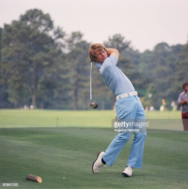 Tom Watson swings during the 1975 Masters Tournament at Augusta National Golf Club in April 1975 in Augusta Georgia