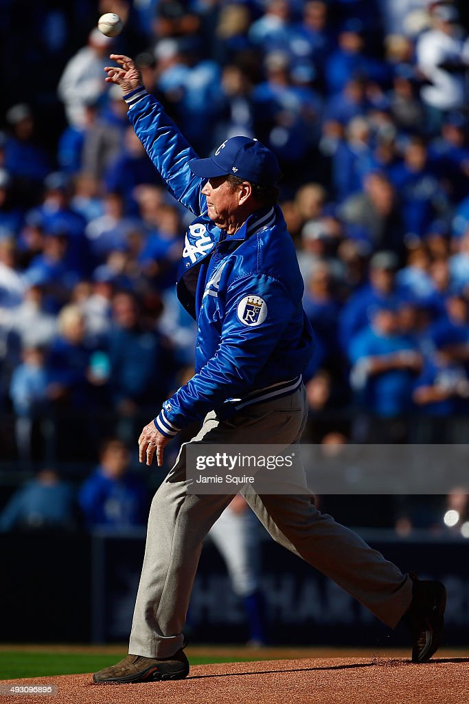 Tom Watson throws out the ceremonial first pitch prior to game two of the American League Championship Series between the Kansas City Royals and the Toronto Blue Jays at Kauffman Stadium on October 17, 2015 in Kansas City, Missouri.