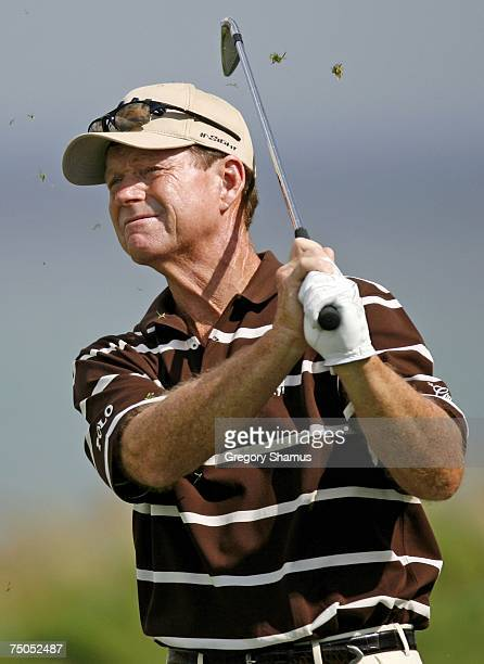 Tom Watson watches his tee shot on the 12th hole during the first round of the United States Senior Open at Whistling Straits on July 5, 2007 in...