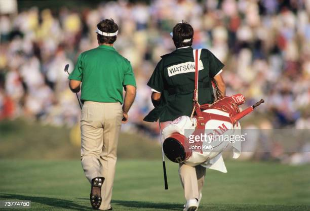 Tom Watson with his caddy Bruce Edwards walks the fairway during the 1986 US Open at the Shinnecock Hills Golf Club