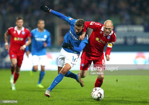 Tom Weilandt of Vfl Bochum is challenged by Gerrit Nauber of MSV Duizburg during the Second Bundesliga match between VfL Bochum 1848 and MSV Duisburg...