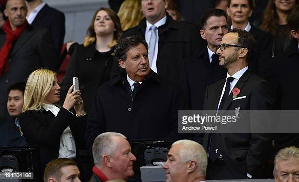 Tom Werner and Mike Gordon owners of Liverpool Football Club watch from the Directors Box before the Barclays Premier League match between Liverpool...