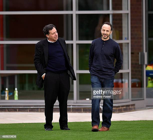 Tom Werner and Mike Gordon part owners of Liverpool during a training session at Melwood Training Ground on October 23 2015 in Liverpool England