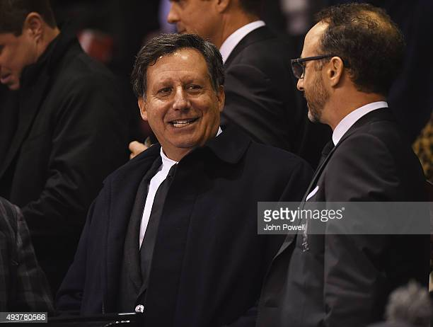 Tom Werner Chairman of Liverpool FC watches from the directors box before the UEFA Europa League match between Liverpool FC and FC Rubin Kazan on...