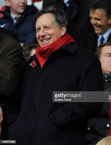 Tom Werner Chairman of Liverpool watches from the Directors box before the Barclays Premier League match between Liverpool and Chelsea at Anfield on...
