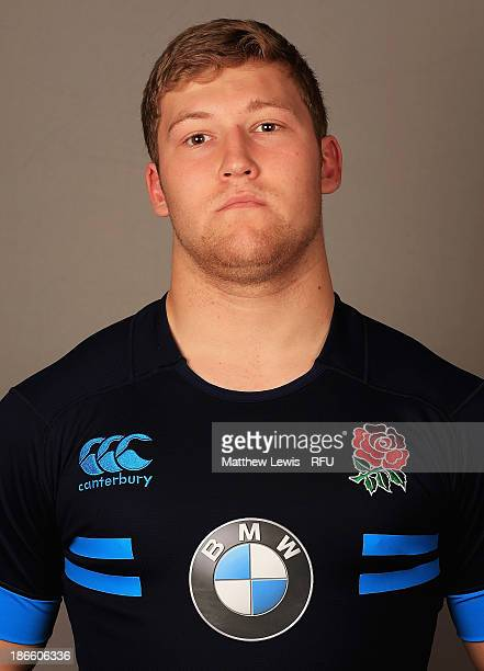 Tom West of England U18's poses for a portrait during an England Rugby Union U18's Headshot session at Loughborough University on November 1 2013 in...