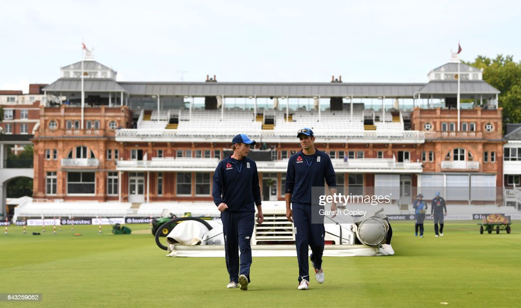 Tom Westley and Alastair Cook of England arrive for a nets session at Lord's Cricket Ground on September 6, 2017 in London, England.