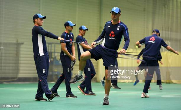 Tom Westley and Toby RolandJones of England warm up during a nets session at Old Trafford on August 3 2017 in Manchester England