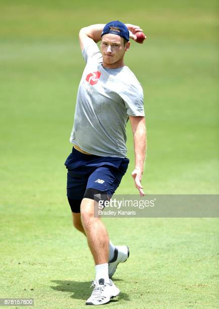 Tom Westley fields the ball during an England Lions training session at Allan Border Field on November 24 2017 in Brisbane Australia