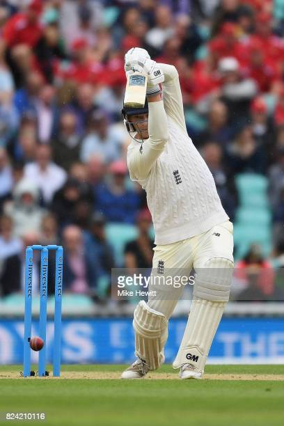 Tom Westley of England drives for four during Day Three of the 3rd Investec Test match between England and South Africa at The Kia Oval on July 29...
