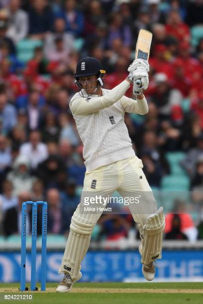 Tom Westley of England hits a boundary during Day Three of the 3rd Investec Test match between England and South Africa at The Kia Oval on July 29...