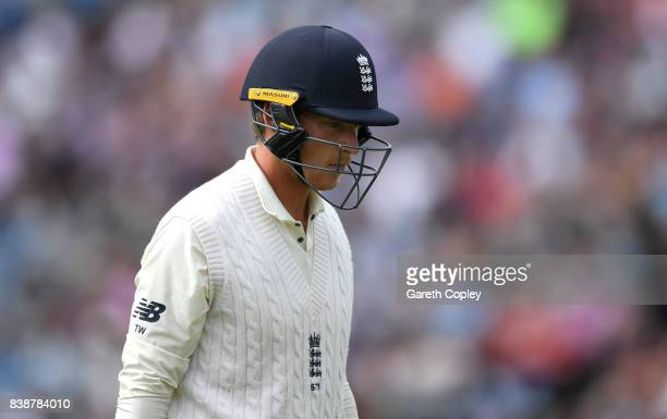 Tom Westley of England leaves the field after being dismissed by Kemar Roach of the West Indies during day one of the 2nd Investec Test between...