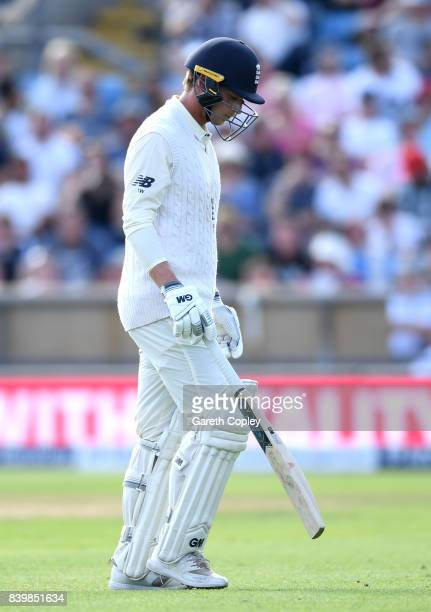 Tom Westley of England leaves the field after being dismissed by Jason Holder of the West Indies during day three of the 2nd Investec Test between...