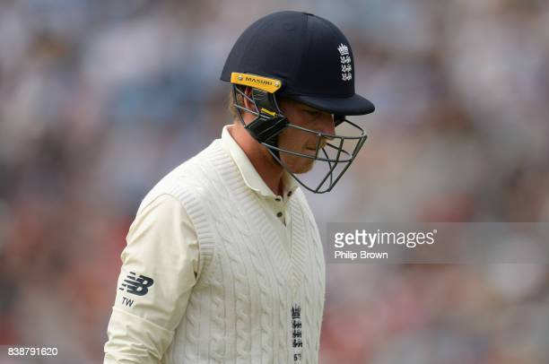 Tom Westley of England leaves the field after being dismissed during the 2nd Investec Test match between England and the West Indies at Headingley...
