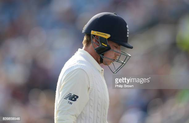Tom Westley of England leaves the field after being dismissed during the third day of the 2nd Investec Test match between England and the West Indies...