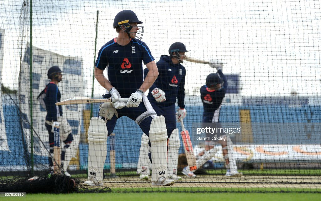 Tom Westley of England waits to bat during a nets session at Headingley on August 23, 2017 in Leeds, England.