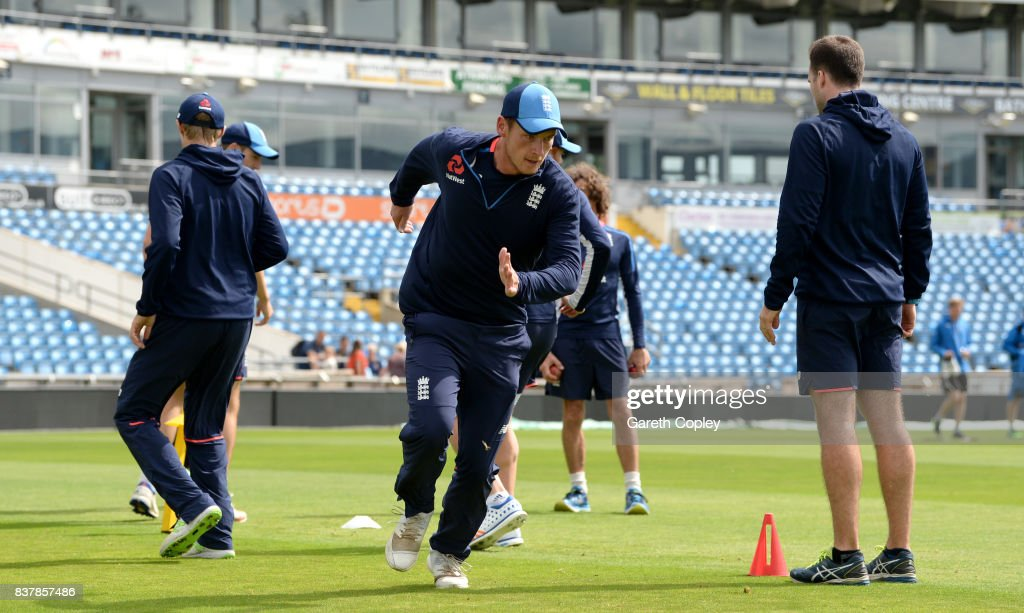 Tom Westley of England warms up during a nets session at Headingley on August 23, 2017 in Leeds, England.