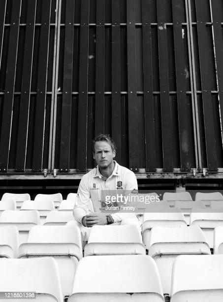 Tom Westley of Essex CCC poses for a picture as last years County Championship trophy winner at The Essex County Ground on March 02 2020 in...