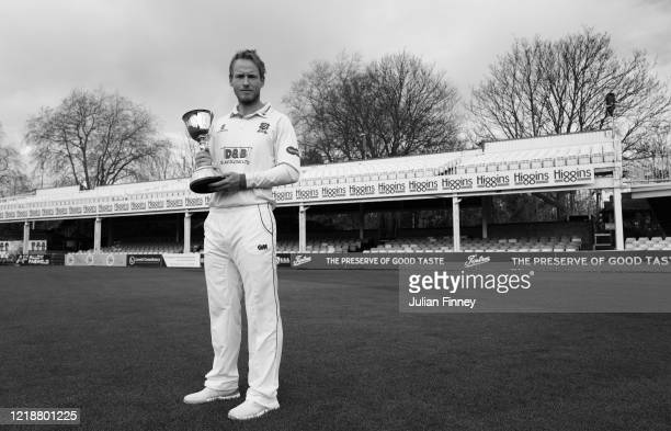 Tom Westley of Essex CCC poses with the County Championship trophy at The Essex County Ground on March 02 2020 in Chelmsford England
