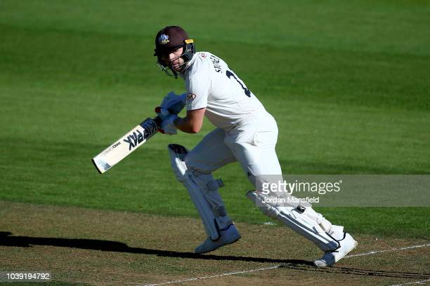 Tom Westley of Essex celebrates his 50 during day one of the Specsavers County Championship Division One match between Surrey and Essex at The Kia...