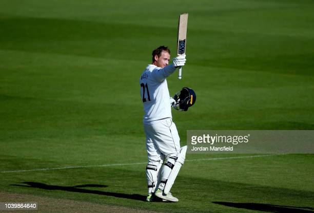 Tom Westley of Essex celebrates his century during day two of the Specsavers County Championship Division One match between Surrey and Essex at The...