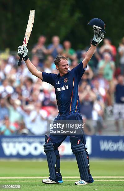 Tom Westley of Essex celebrates his century during the Natwest T20 Blast match between Essex Eagles and Kent Spitfires at Castle Park on July 12 2014...
