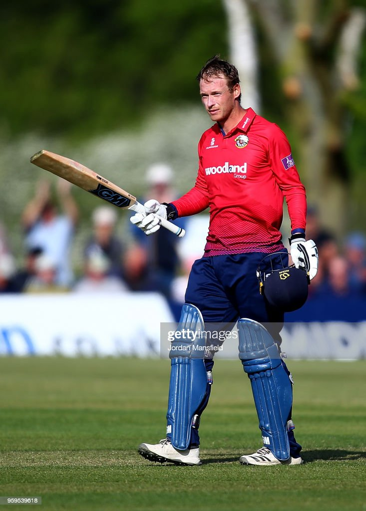 Tom Westley of Essex celebrates his century during the Royal London One-Day Cup match between Middlesex and Essex at Radlett Cricket Club on May 17, 2018 in Radlett, England.