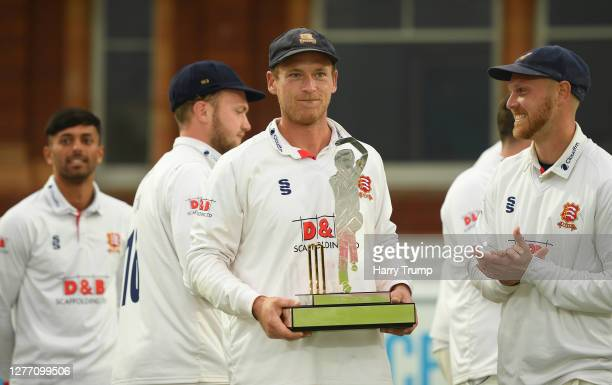 Tom Westley of Essex lifts the Bob Willis Trophy during Day Five of the Bob Willis Trophy Final match between Somerset and Essex at Lord's Cricket...
