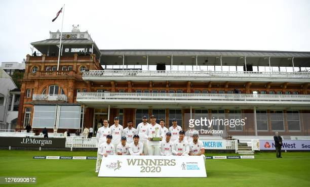 Tom Westley of Essex lifts the Bob Willis Trophy with teammates after Day 5 of the Bob Willis Trophy Final between Somerset and Essex at Lord's...