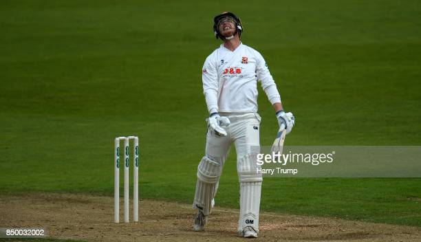Tom Westley of Essex reacts during Day Two of the Specsavers County Championship Division One match between Hampshire and Essex at the Ageas Bowl on...