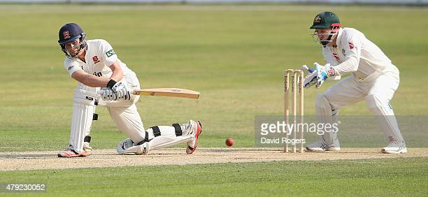 Tom Westley of Essex sweeps the ball for four runs during day two of the tour match between Essex and Australia at The Ford County Ground on July 2...