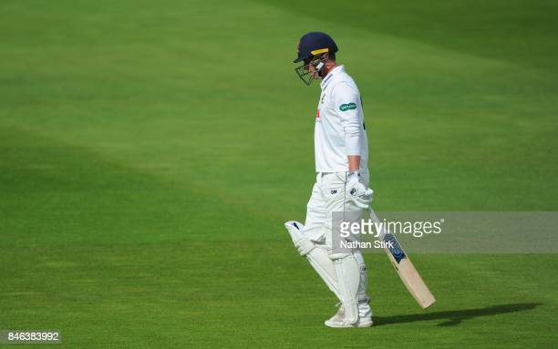 BIRMINGHAM ENGLAND SEPTEMBER Tom Westley of Essex walks of the pitch after getting out during the County Championship Division One match between...