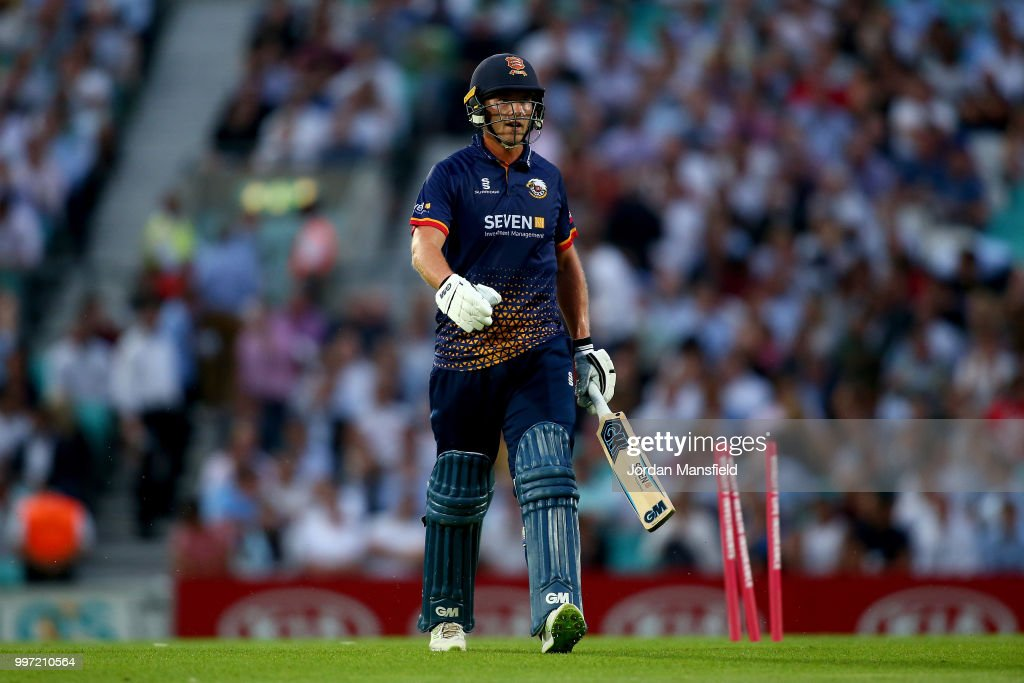 Tom Westley of Essex walks off after being dismissed by Gareth Batty of Surrey during the Vitality Blast match between Surrey and Essex Eagles at The Kia Oval on July 12, 2018 in London, England.