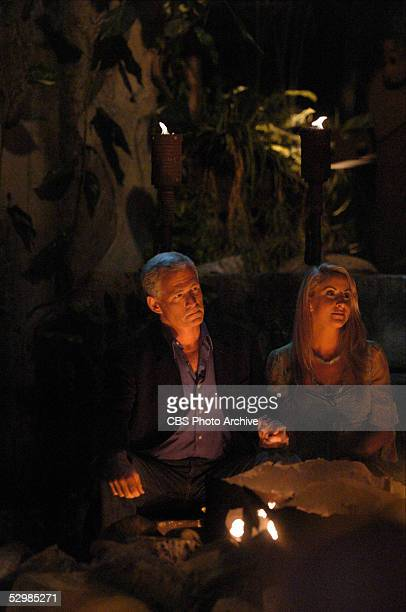 Tom Westman and Katie Gallagher wait to see which of them won the television show SURVIVOR PALAU during a live broadcast on the CBS Television...