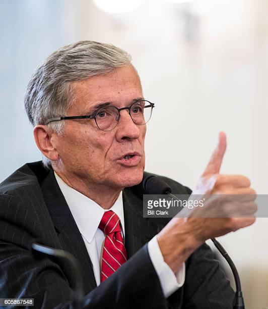 Tom Wheeler Chairman Federal Communications Commission testifies during the Senate Commerce Science and Transportation Committee hearing on Oversight...