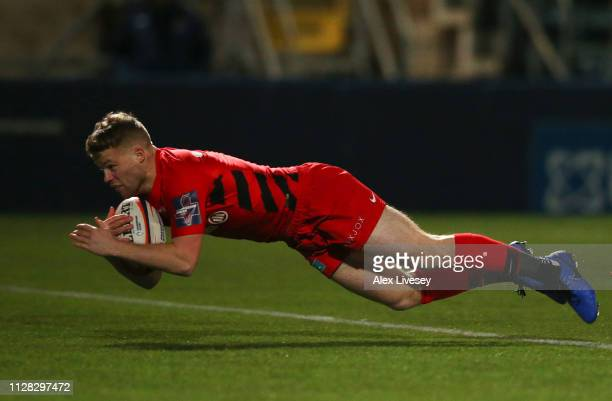 Tom Whiteley of Saracens touches down to score their first try during the Premiership Rugby Cup semifinal match between Worcester Warriors and...