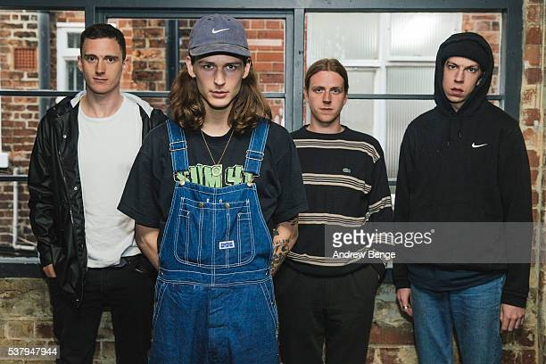 Tom Wilkes Bradley Griffiths Christian Wilkes and Sam Conway of Bloody Knees pose backstage at Headrow House on June 2 2016 in Leeds England