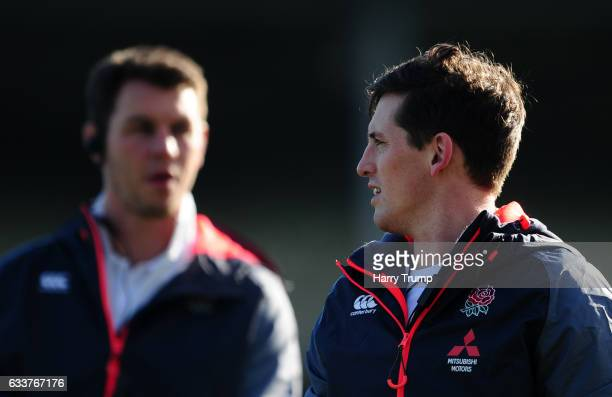 Tom Williams Coach of England U20s and Lewis Deacon Coach of England U20 looks on during the U20 Six Nations match between England U20 and France U20...