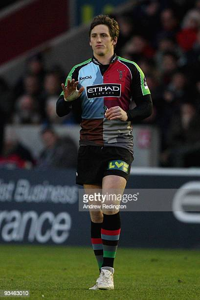 Tom Williams of Harlequins makes his first home appearance since being suspended for his part in the fake blood incident during the Guinness...