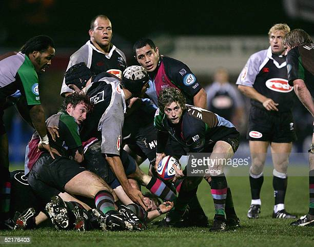 Tom Williams of Quins feeds out the ball during the friendly game between Harlequins and Natal Sharks on February 10 2005 at the Stoop Ground in...