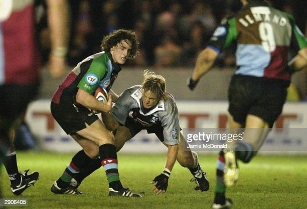 Tom Williams of Quins is tackled by Rudi Keil of the Sharks during the friendly match between NEC Harlequins and Natal Sharks at the Stoop on January...