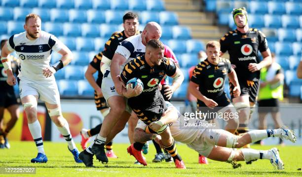 Tom Willis of Wasps is tackled during the Gallagher Premiership Rugby match between Wasps and Bristol Bears at the Ricoh Arena on September 13 2020...