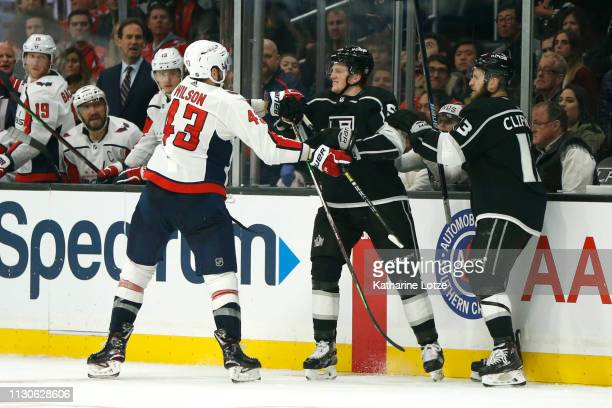 Tom Wilson of the Washington Capitals and Austin Wagner of the Los Angeles Kings throw punches during the third period at Staples Center on February...