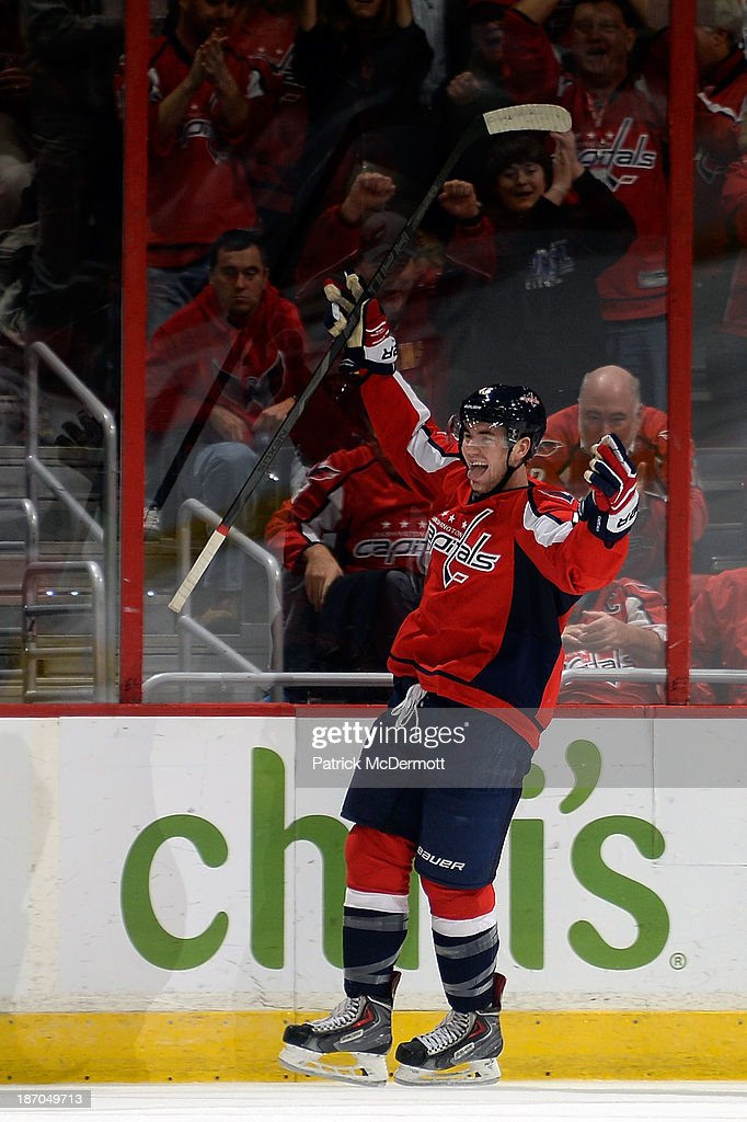 Tom Wilson #43 of the Washington Capitals celebrates after scoring his first career NHL goal in the third period of a game against the New York Islanders at Verizon Center on November 5, 2013 in Washington, DC.
