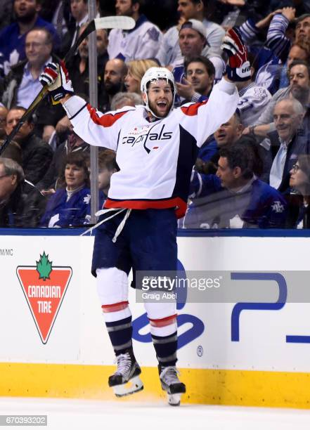 Tom Wilson of the Washington Capitals celebrates after scoring against the Toronto Maple Leafs during the first period in Game Four of the Eastern...