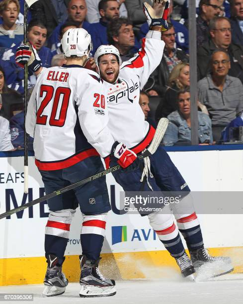 Tom Wilson of the Washington Capitals celebrates his goal against the Toronto Maple Leafs in Game Four of the Eastern Conference Quarterfinals during...